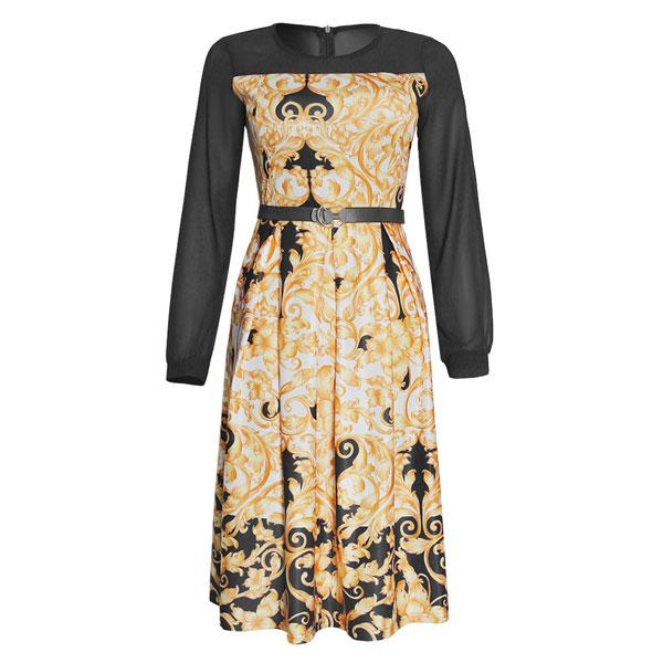 Lantern Sleeves Belt Dress - STL Fashion House