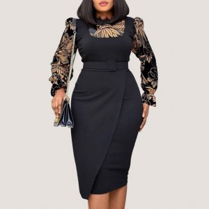 Long Sleeves Belted Dress - STL Fashion House