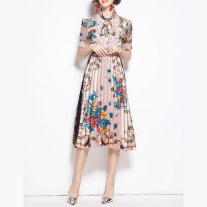 Trims Floral Midi Dress Pink - STL Fashion House
