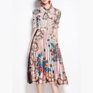 Trims Floral Midi Dress Pink - STL Fashion House