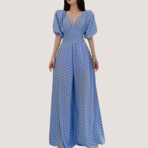 Blue Wide Leg Polka Jumpsuit - STL Fashion House