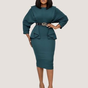 Batwing Belted Dress - STL Fashion House