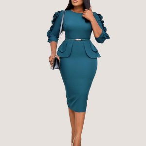 Ruffle Sleeves Dress - STL Fashion House
