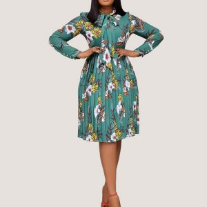 Mint Print Bowtie Dress - STL Fashion House
