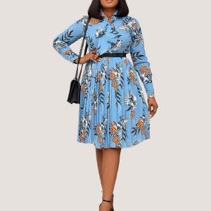 Blue Mint Print Bowtie Dress - STL Fashion House