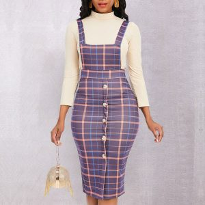 Plaid Pinafore Dress Set - STL Fashion House