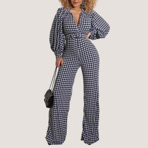 Plaid Puff Sleeve Jumpsuit - STL Fashion House